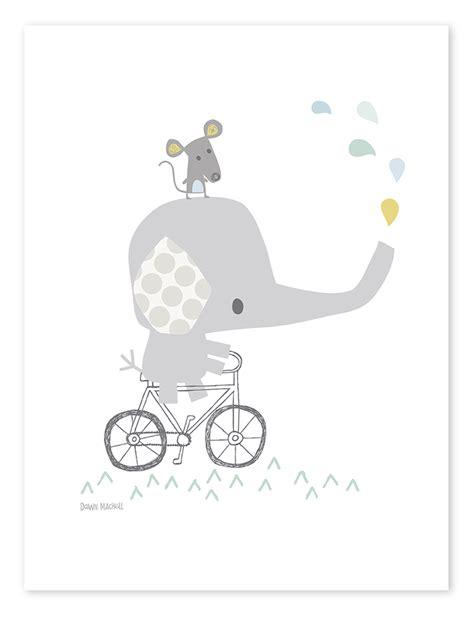 Lilipinso Kinderzimmerposter 'elefant Auf Fahrrad' Weiß