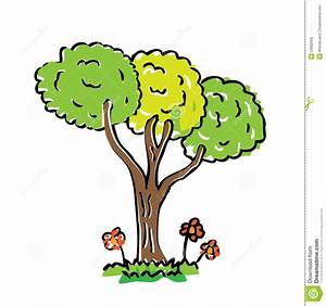 Cartoon Drawing Tree With Color Stock Photo - Image: 23683000