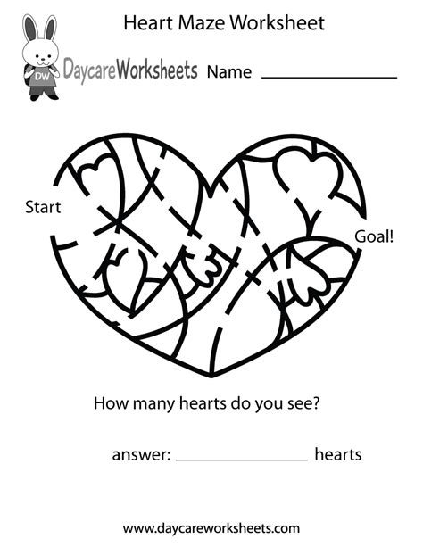 preschool heart maze worksheet