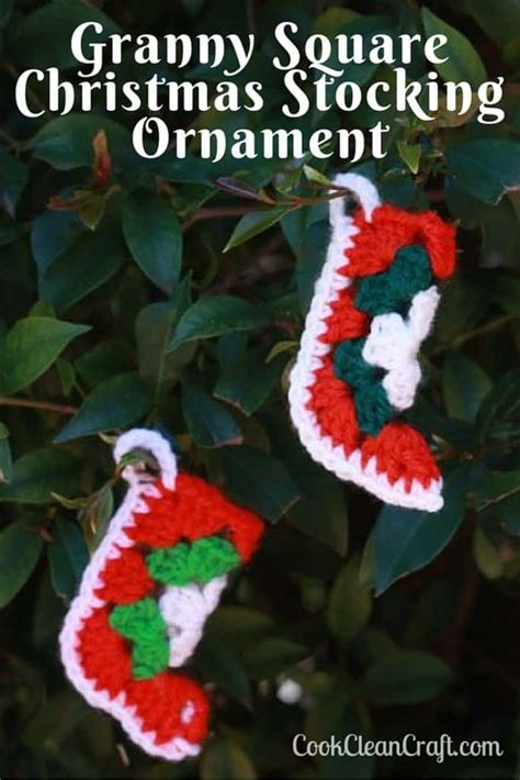 granny square christmas stocking ornament cook clean craft