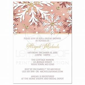 Bridal Shower Invitations - Rose Gold Winter Snowflake