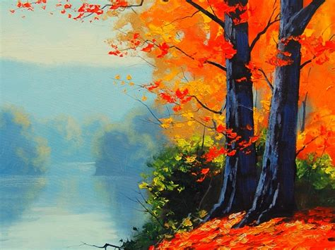 painting wallpapers yellow leafs fall  road image