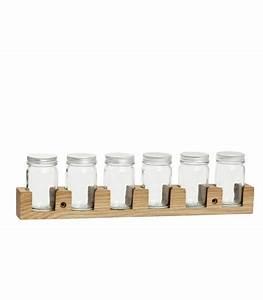 Support à épices : support pices mural en bois et ses 6 pots pices en verre ~ Teatrodelosmanantiales.com Idées de Décoration