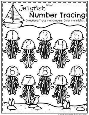 preschool ocean theme worksheets number tracing