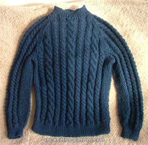 sweater knitting pattern abc knitting patterns cable raglan sweater for a boy