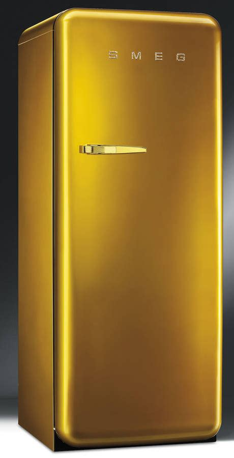Glass Door Refrigerator Freezer For Home Smeg Retro Fridge In Gold With Swarovski Crystals