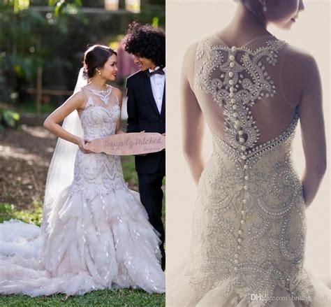 Luxury 2015 Wedding Dresses Sheer Neck Mermaid With Full ...