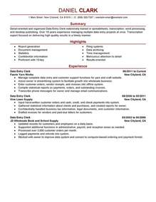 bank clerk profile resume data entry clerk resume sle my resume