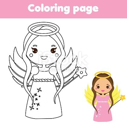 coloring page  cute angel character  kawaii style drawing kids game printable activity