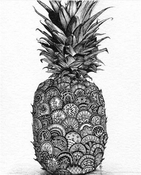 drawn pineapple mandala pencil   color drawn
