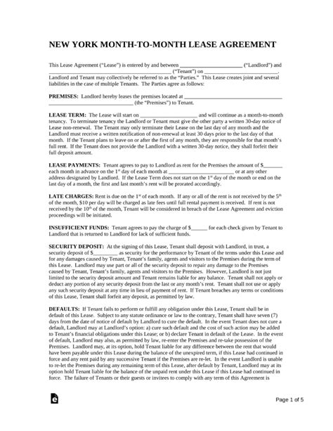 Free New York Month To Month Rental Agreement Template Pdf Word Eforms Free Fillable Forms