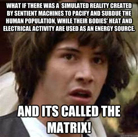Meme Source - what if there was a simulated reality created by sentient machines to pacify and subdue the