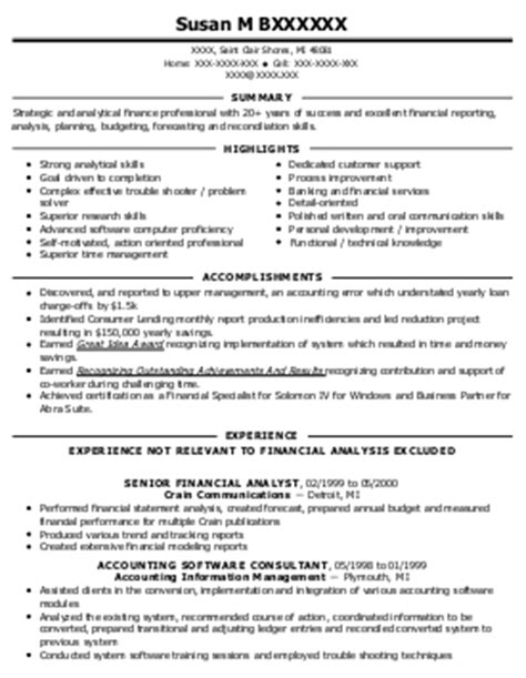 Kronos Resume by Senior Financial Analyst Resume Exle Kronos