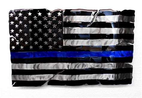 Tattered Thin Blue Line Fluid Metal Sign