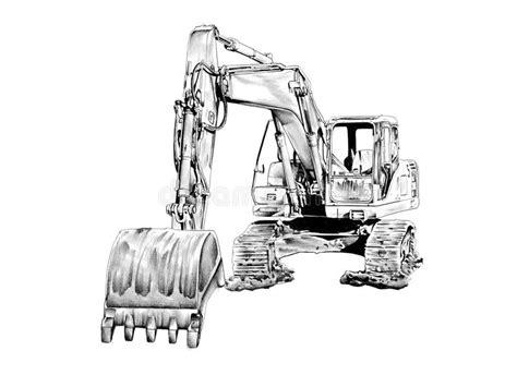 excavator illustration isolated art drawing stock illustration illustration  construction