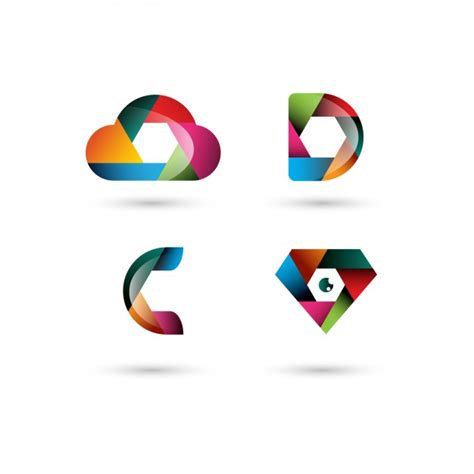 Colorful Polygonal Logo Templates Vector