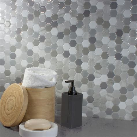smart tiles peel and stick hexagon smart tiles hexagon travertino 9 76 in w x 9 35 in h
