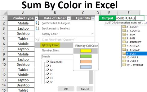 sum  color  excel examples   sum  colors