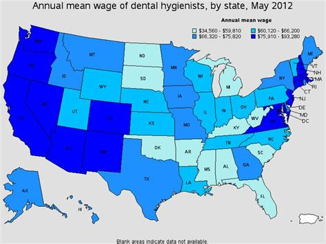Therapist Salary By State by Annual Wage Of U S Dental Hygienist By State May