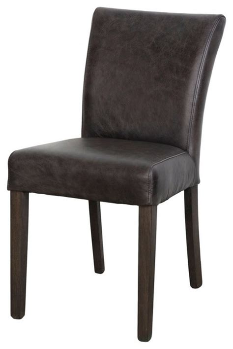 antique brown top grain leather dining chair