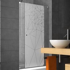 sticker paroi de douche depoli prismes graphiques With porte de douche coulissante avec stickers occultant fenetre salle de bain