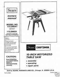 Sears Craftsman Table Saw Manual Model   113 298051