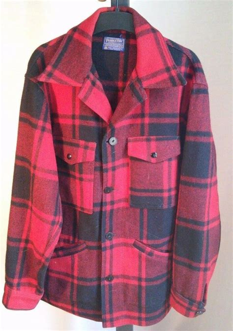 vintage pendleton red buffalo plaid wood er jacket