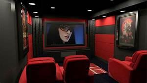 Interior Designs. Dark Decor Theatre Room With Red White ...