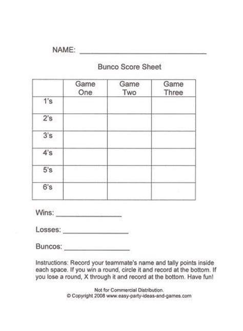 bunco score sheets keeping  master tally   bottom
