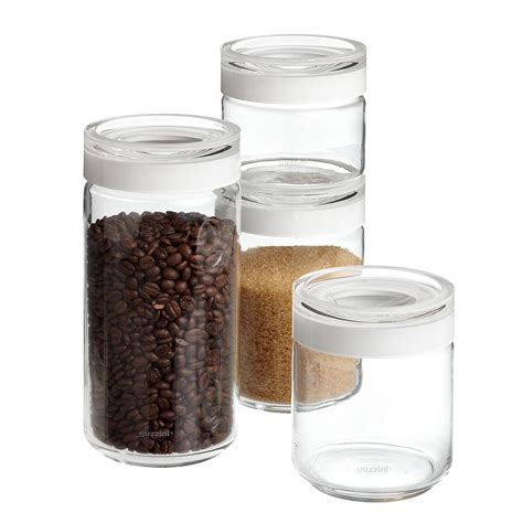 glass kitchen canisters airtight set of guzzini blanca glass canisters the container store