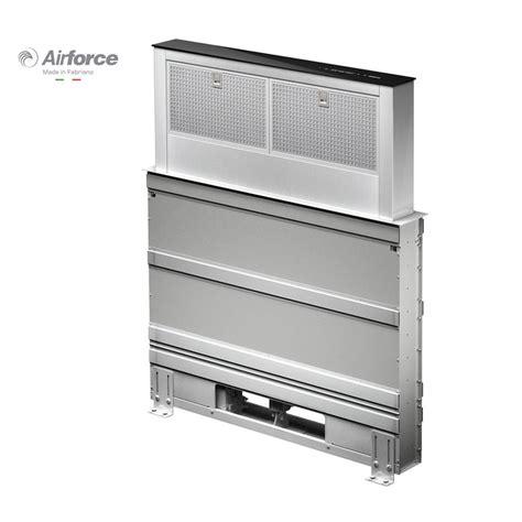 hotte de cuisine largeur 80 cm airforce downdraft inox et verre hotte plan de travail