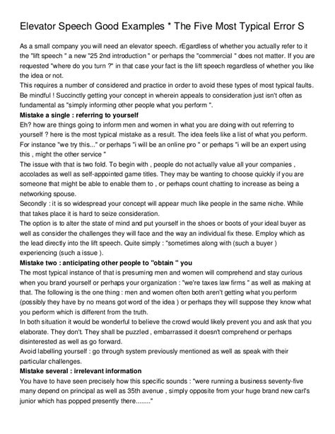 Elevator Speech Good Examples  The Five Most Typical Error S. Resume Samples For Self Employed Individuals. Best Resume Qualifications. Example Of Job Description For Resume. Data Warehouse Experience Resume. Sample Resume For High School Students. How Should A Resume Look Like For Students. Volunteer Experience Resume. Server Resume
