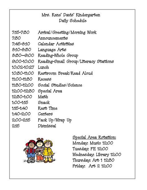 preschool schedule template best 25 kindergarten schedule ideas on 806