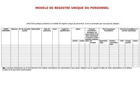 registre du travail modele registre unique du personnel