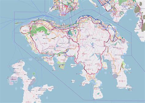 large detailed road map  hong kong island hong kong