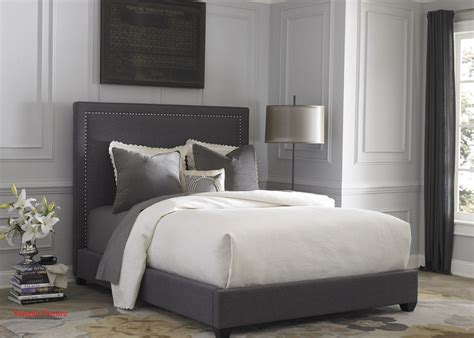 3162 grey upholstered king bed gray upholstered king panel bed from liberty