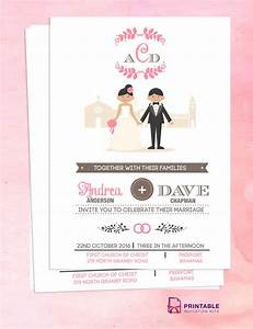 couple cartoon in front of church invitation wedding With e wedding invitation with photos of couples