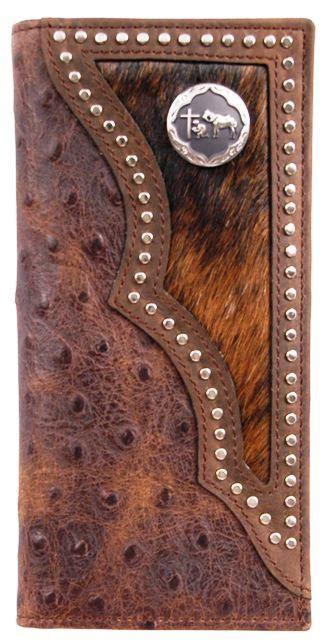 western brown rodeo wallet  ostrich print  praying