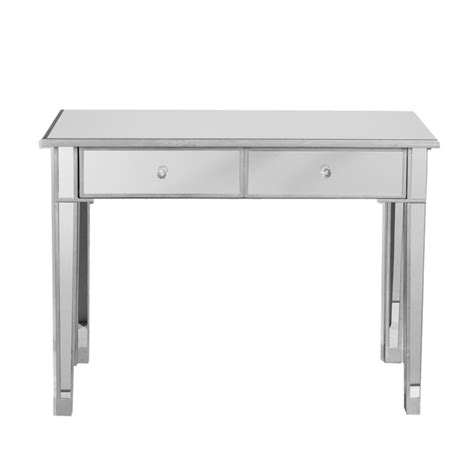mirror console table sei mirage mirrored 2 drawer console table