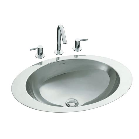 kohler stainless steel sink and faucet package kohler rhythm drop in oval stainless steal bathroom sink