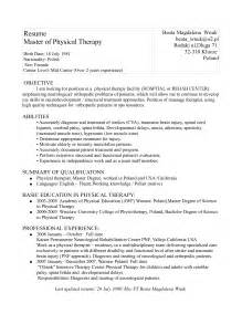 physical therapy resume objective physical therapy assistant resume the best letter sle