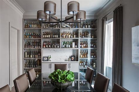 Dining Room With Bar by Gray Dining Room With Wall Of Built In Glass Front