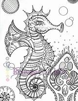 Seahorse Coloring Zentangle Adult sketch template