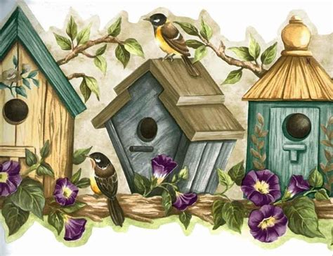 blue bird houses wallpaper border roll traditional