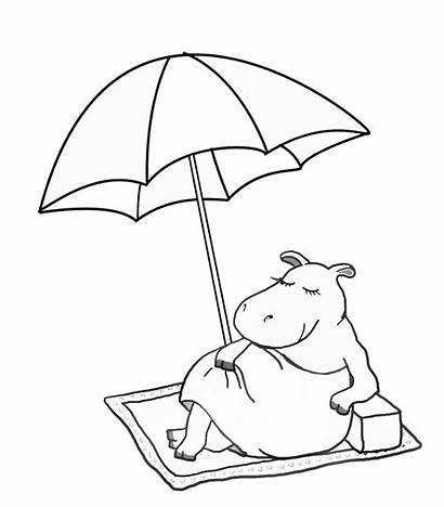 Summer Coloring Funny Hippo Pages Sheet Parasol