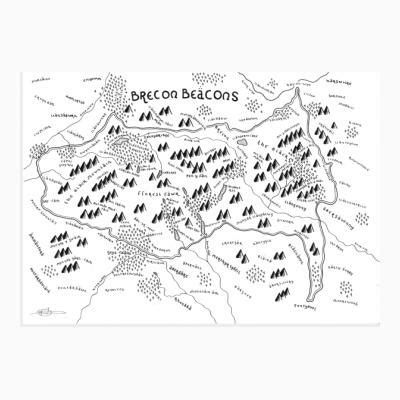 brecon beacons national park map print mapsy