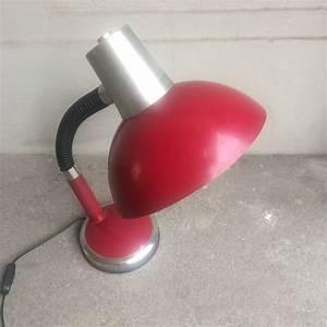 Lampe Bureau Vintage : lampe de bureau vintage orientable rouge bordeaux et chrome ~ Teatrodelosmanantiales.com Idées de Décoration