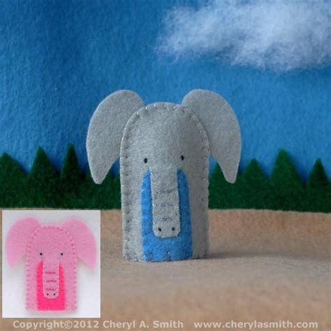 elephant finger puppet handstitched elephant felt finger