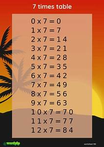 Table A 7 Times Table Sunset Scene