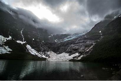 Dark Mountain Norway Nature Landscape Clouds Lake